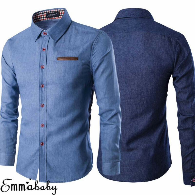Men Shirt Formal-Tops Male Dress Slim-Fit Blue Fashion Long-Sleeved Denim Luxury New-Year title=