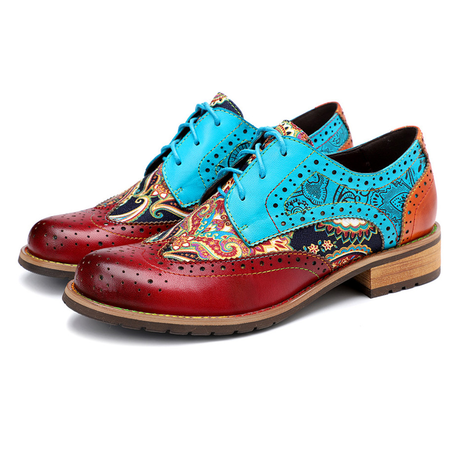 2020 New Spring Casual Women Brogues Shoes Handmade Genuine Leather Women Flats Oxfords Shoes Retro Carved Lace Up  Lady Oxfords (4)