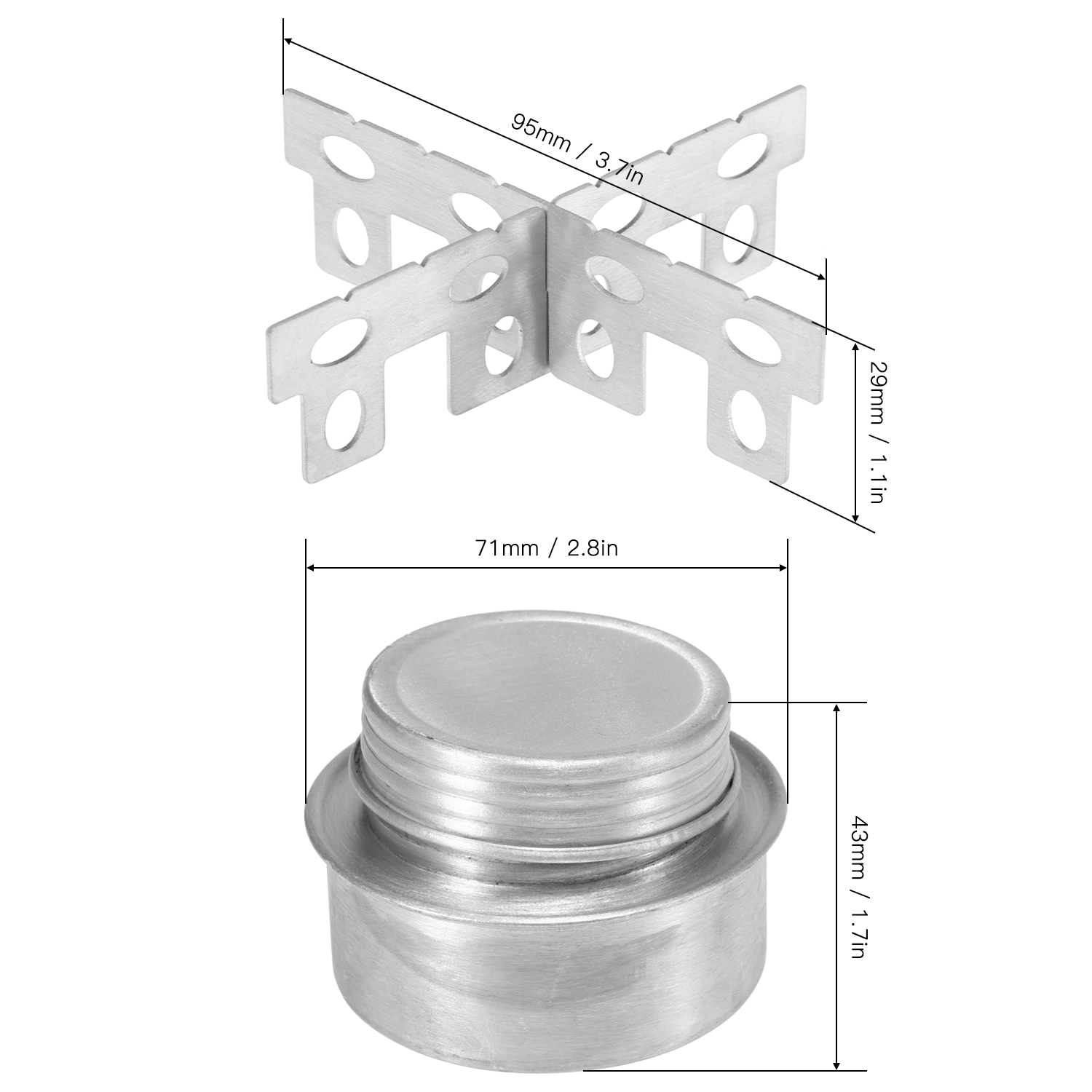Lixada Outdoor Camping Picnic Aluminum Alloy Mini Alcohol Stove with Cross Stand