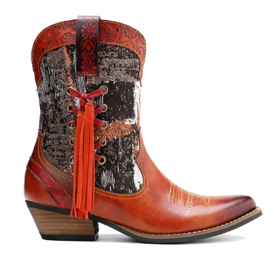 New Genuine Leather Fine Printed Ladies Shoes Ankle Boots Vintage Handmade Chunky Heel Embroidery Western Boots Shoes For Woman  (10)