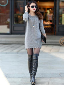 Sweaters Dress Pullovers Knitwear Poncho Tunics Gray Beige Warm Black Long Plus-Size