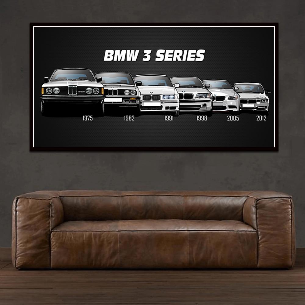 BMW E30 M3 Painting Car Auto Home Poster Room Decor Blueprint Wall Decoration