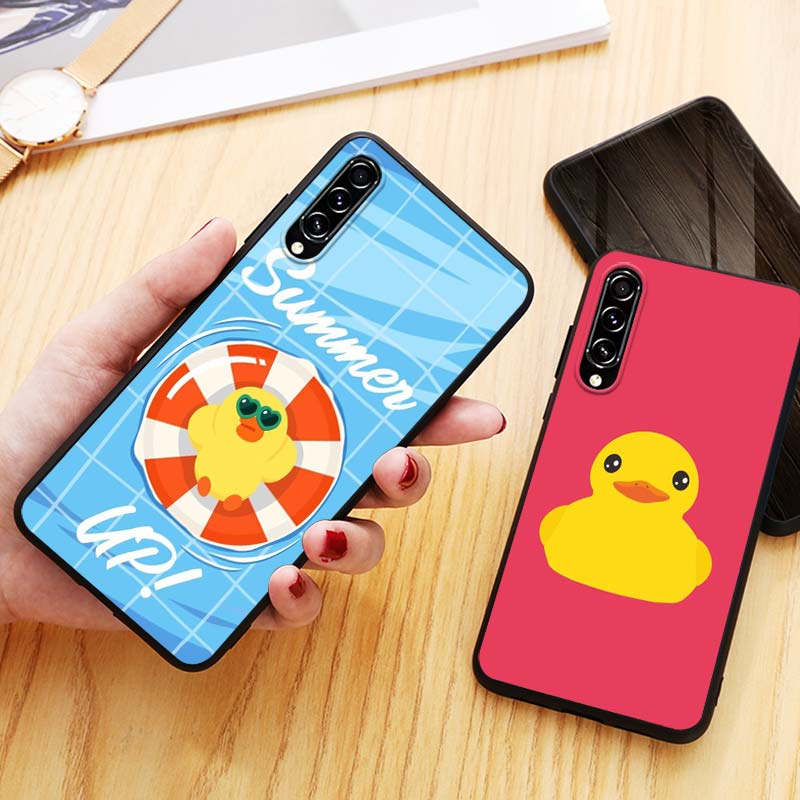 cool yellow duck for Samsung Galaxy A90 5G A80 A70S A70 A60 A50 A50S A40 A30S A20S A20E A20 A2 Core A10 Phone Case