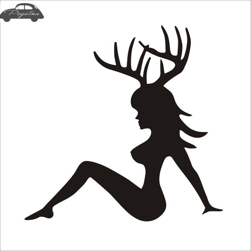 Pegatina Hunt Girl Sticker Antler Hunter Club Decal Gun Shop Hollow Hunting Car Window Vinyl Decal Funny Poster
