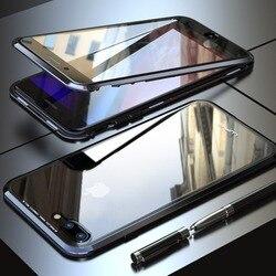 Металлический магнитный чехол для iPhone X XS XR 8 7 Plus, с защитным стеклом