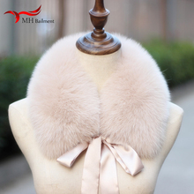 Fox Fur Collar Ladies Winter New Ribbon Scarf Coat Collar Fashion Warmth Real Fox Fur Scarf Multiple Colors Women
