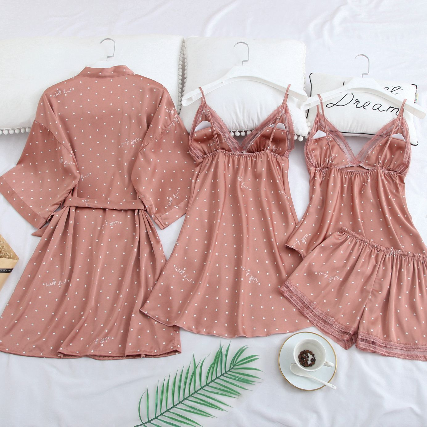Pink Print Dot Wedding Robe Set Sleepwear Casual Intimate Lingerie Nightgown Nightdress Soft Homewear Home Clothing Kimono Gown
