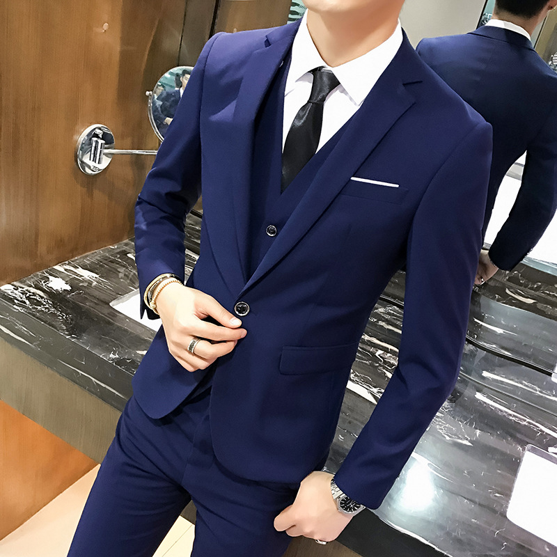Suit-Set Three-Piece-Set Groom Formal-Wear Marriage Business MEN'S Slim-Fit Group Going-To-Work title=