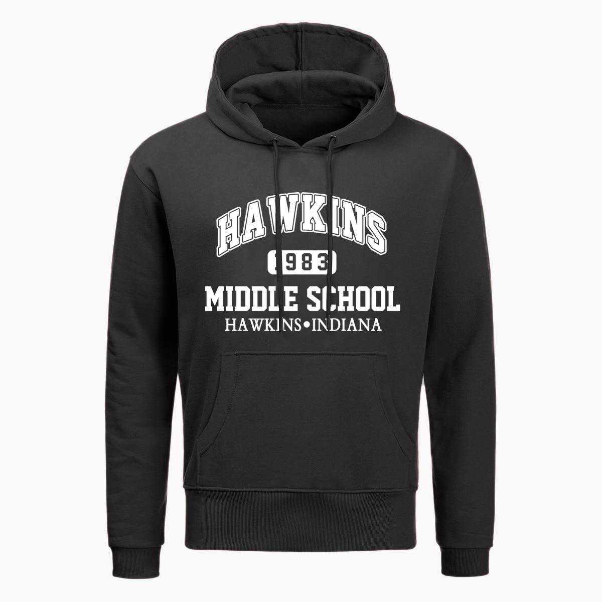 Stranger Things Hoodies Hawkins Indiana Middle School Upside Down Print Hoodie Men Funny Autumn Winter Harajuku Streetwear