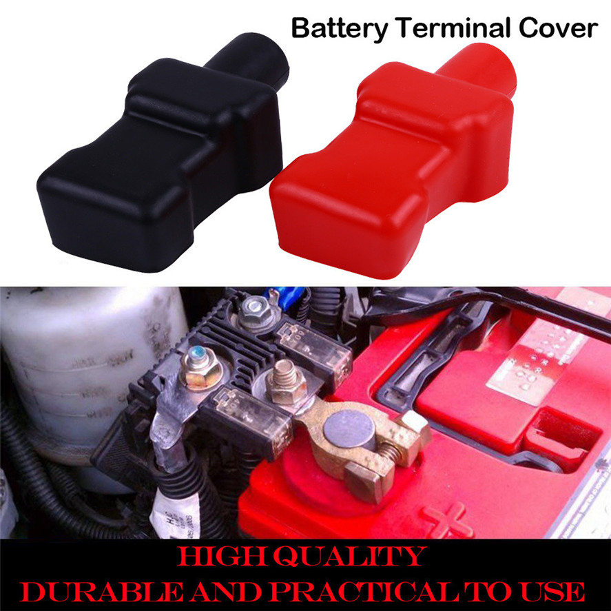 1Pair Car Battery Terminal Cap Cover Flexible Insulating Protector Positive and Negative Vehicle Batteries Accessories