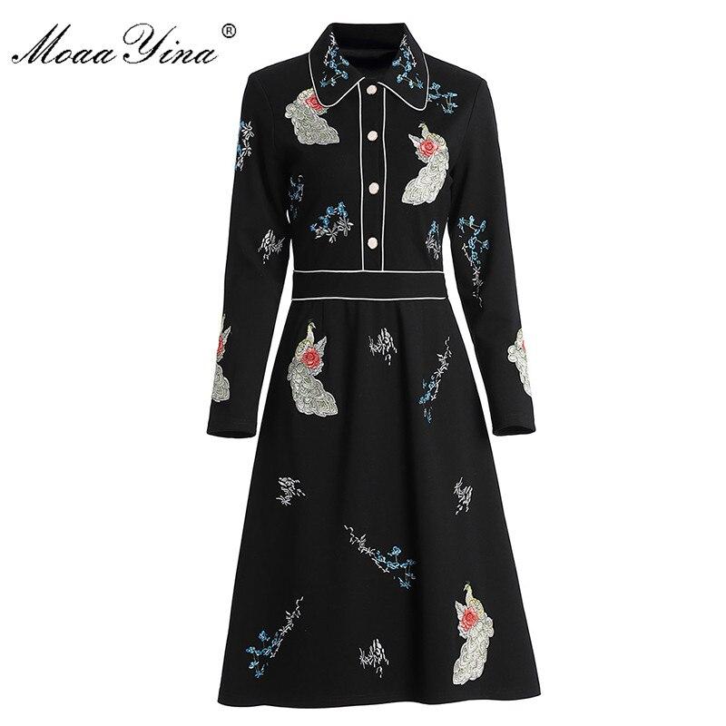 MoaaYina Fashion Designer dress Spring Autumn Women/'s Dress Long sleeve Peacock Flowers Embroidery Elegant Dresses