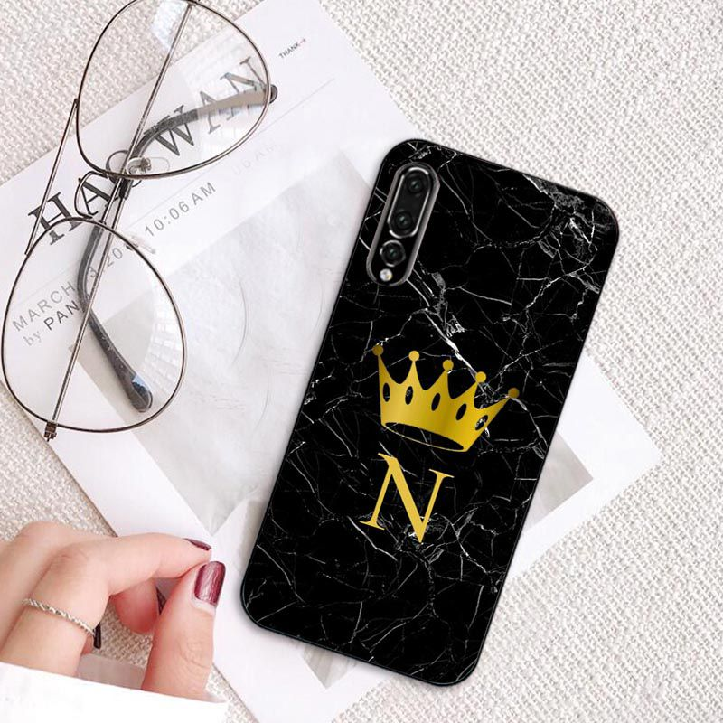 Custom name Letter Monogram Black Marble Gold crown