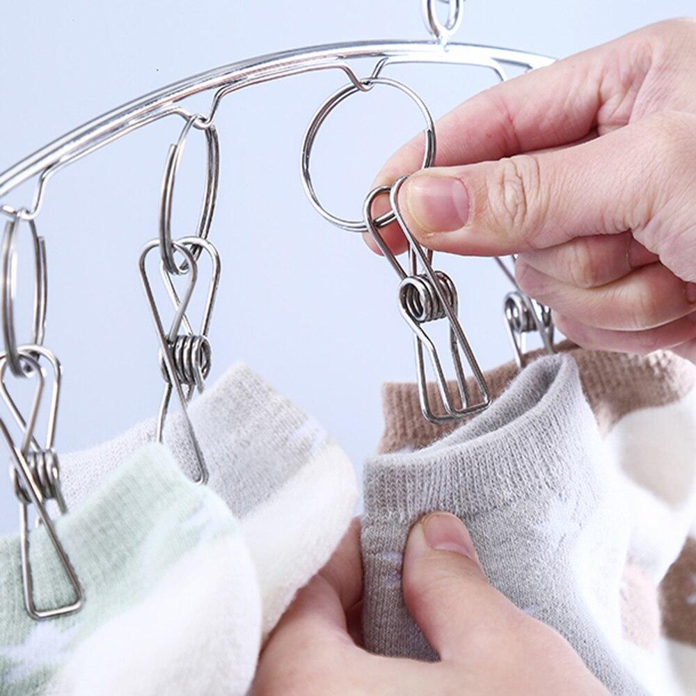 pa/ñales de Tela Sostenes Ropa para beb/és Bufanda Qualsen Tendedero de Acero Inoxidable con 10 Clips de Metal para secar Calcetines 2 Piezas Gorro Toallas Ropa Interior