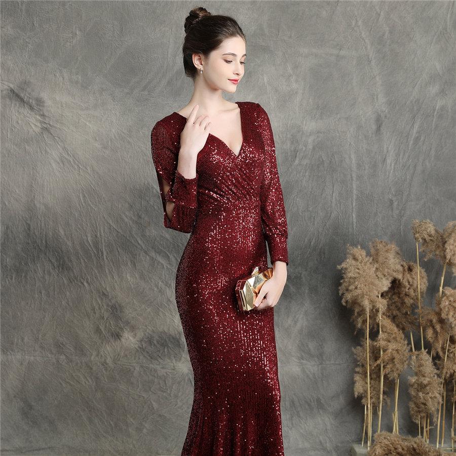 Mermaid Prom Dress Burgundy Long Sequins Women Party Dress DX240-4 2019 New Plus Size Robe De Soiree Full Sleeves Evening Dress