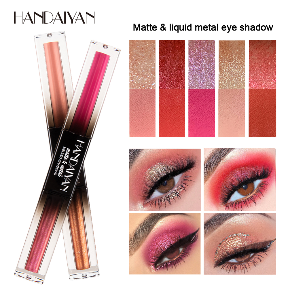 handaiyan Double ended Glitter Eye Shadow Color Pigments Makeup Long Lasting Metallic Matte Liquid Eyeshadow Nude Makeup