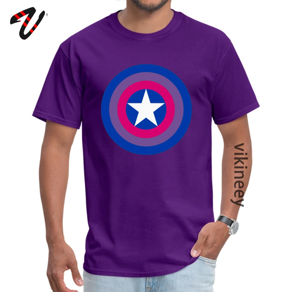 Customized Captain Bisexual Tops Shirts for Men Cheap April FOOL DAY Round Neck Cotton Short Sleeve T Shirt Hip hop Tee Shirt Captain Bisexual 6982 purple
