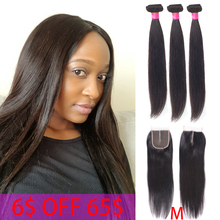 Hair-Bundles Closure Beauty-Grace 8--26-human-Hair Straight Brazilian with Non-Remy