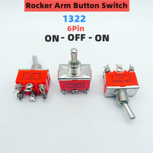 E-TEN1322 Micro switch 15A/250V 6 pin Waterproof Switch Cap On-Off-On Miniature Toggle Switches orange 1PCS