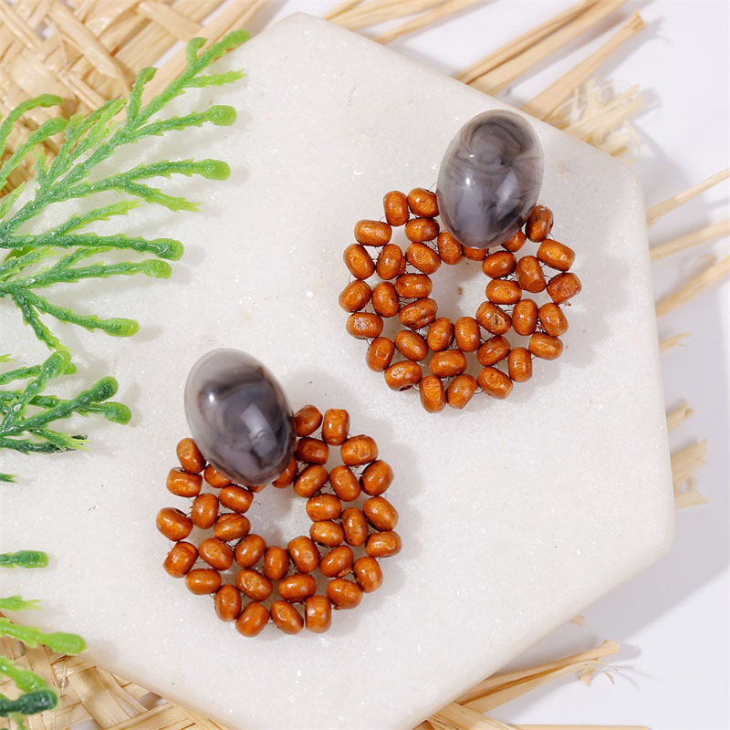 19 Fashion Boho Round Square Geometric Wooden Drop Earrings For Women Bohemian Vintage Wood Beaded Dangle Earring Jewelry Gift 24