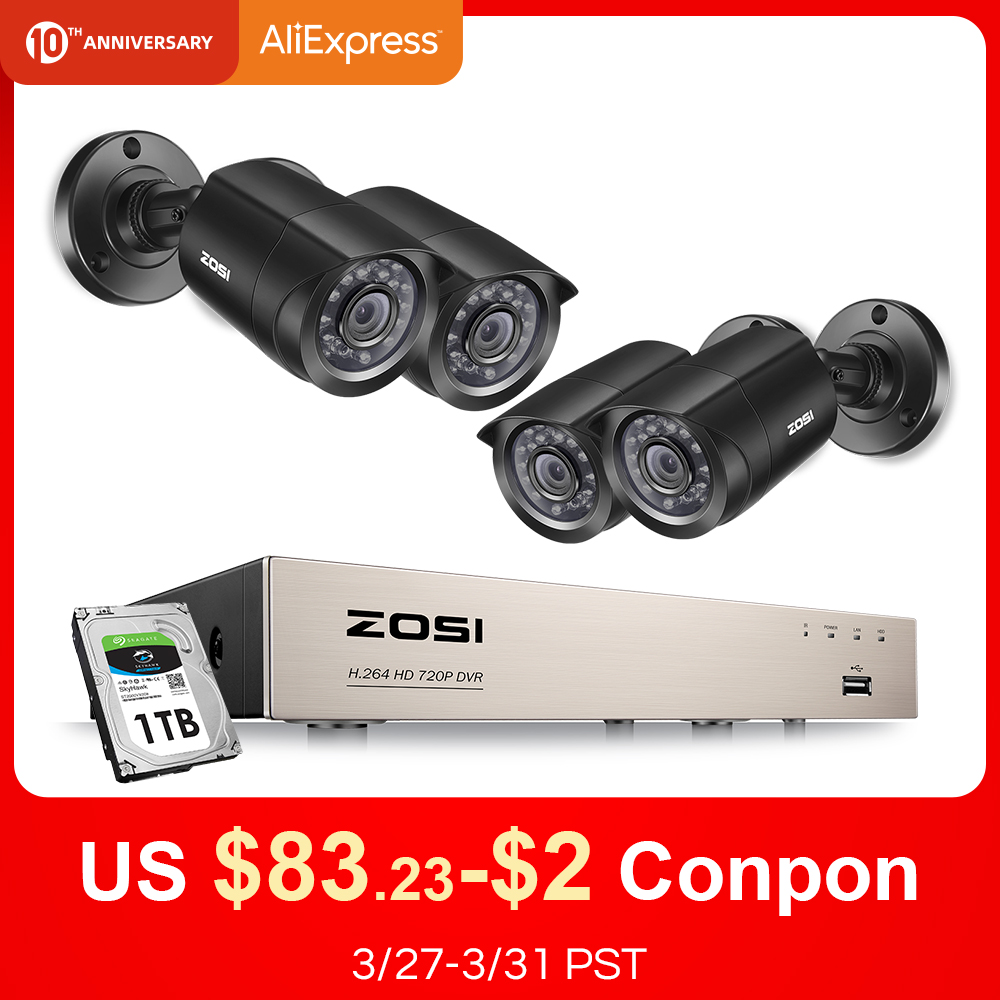 ZOSI Cctv-System Dvr-Kit Security-Camera Home-Video Outdoor Day/night 8CH 4PCS Weatherproof title=
