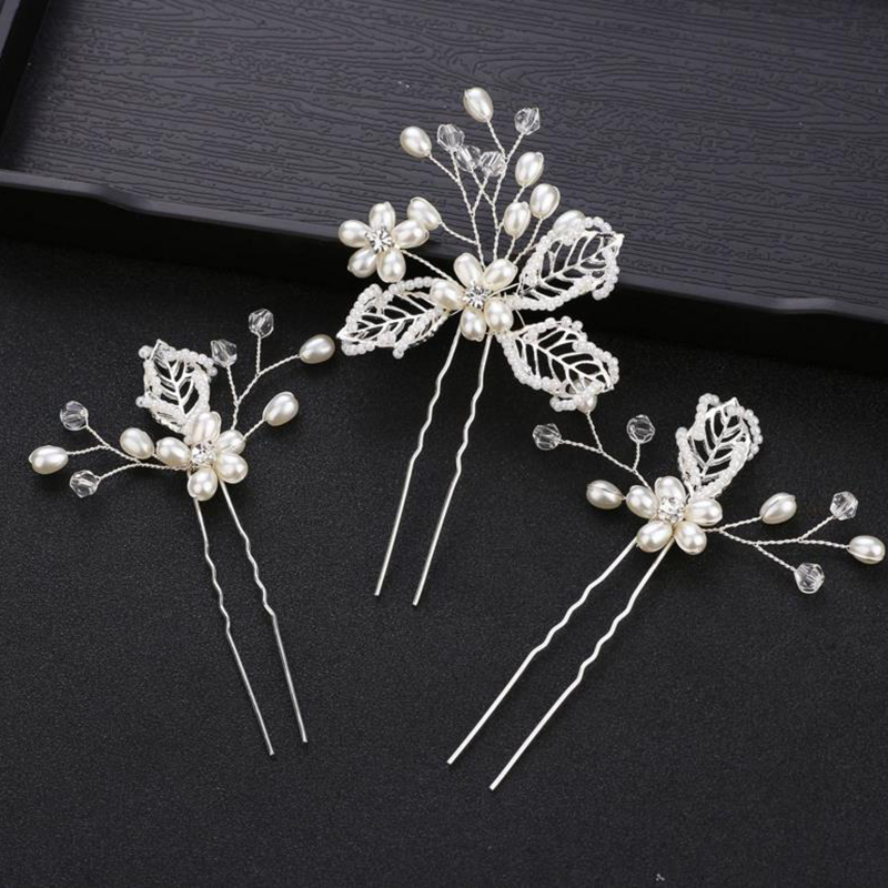 NEW 3pcs/lot White Pearls Flower Hairpins Brial Wedding Hairpieces Hair Accessories Women Hair Jewelry Hair Clips