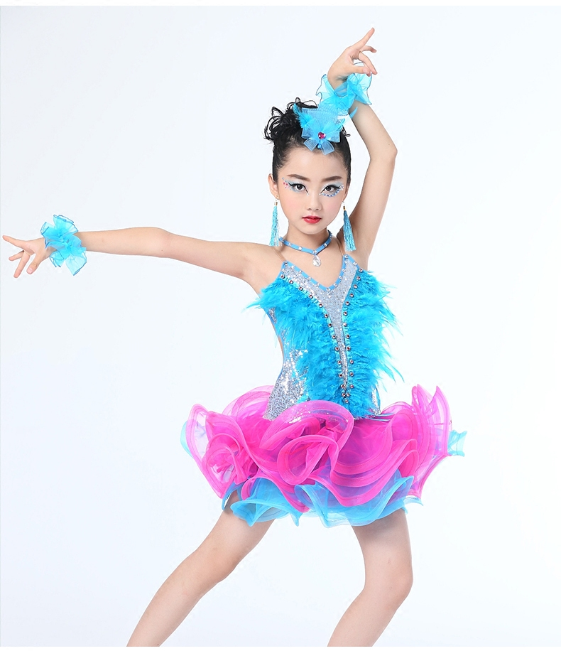 Children/'s Professional Latin Dance Performance Clothing New Girls Tassel Latin Dance Skirt Children Latin Competition Clothing