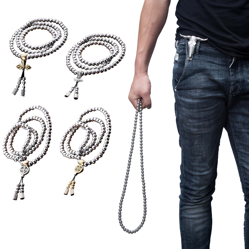 High-Quality-Outdoor-108-Buddha-Beads-Self-Defense-Hand-Bracelet-Necklace-Chain-Full-Steel-Chain-Personal