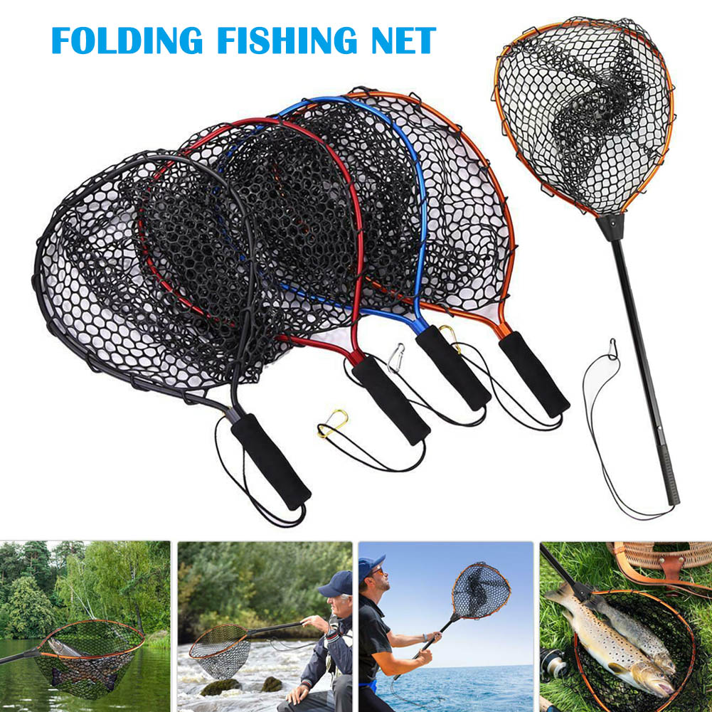 Portable Fishing Net Aluminum Alloy Pole Retractable Telescoping Foldable Landing Rubber Net for Fly PVA Fishing Network SD669
