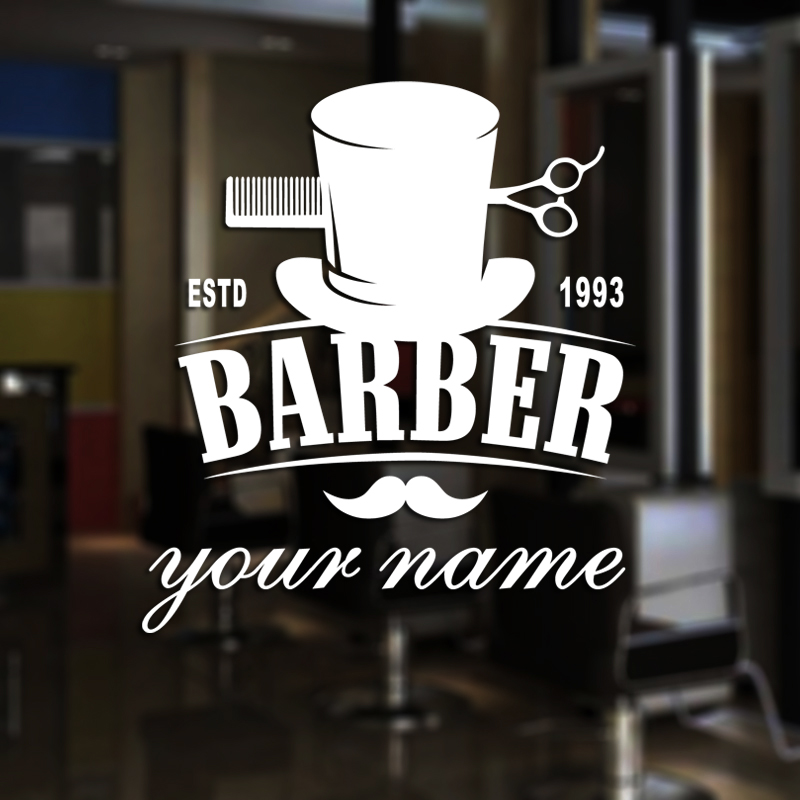 Man Barber Shop Sticker Estd Customized Name Bread Decal Haircut Shavers Posters Vinyl Wall Art Decals Decor Windows Decoration
