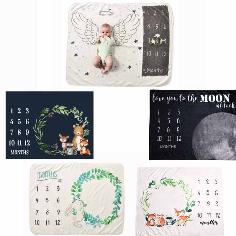 Baby Blanket Soft Flannel Photography Monthly Photo Newborn Children Wings Plant Cartoon Angel Milestone Sleeping Bath Crawling