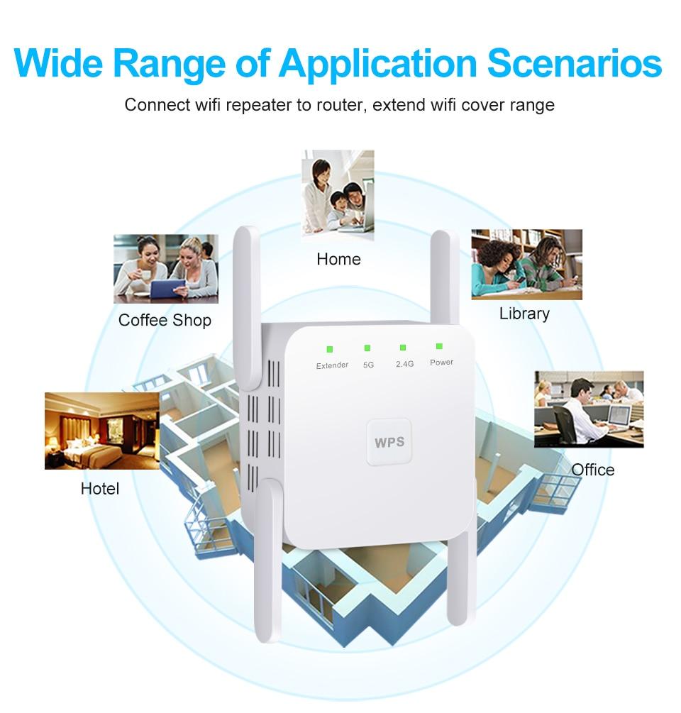Répéteur amplificateur de wifi sans fil double bande 2.4 G / 5G