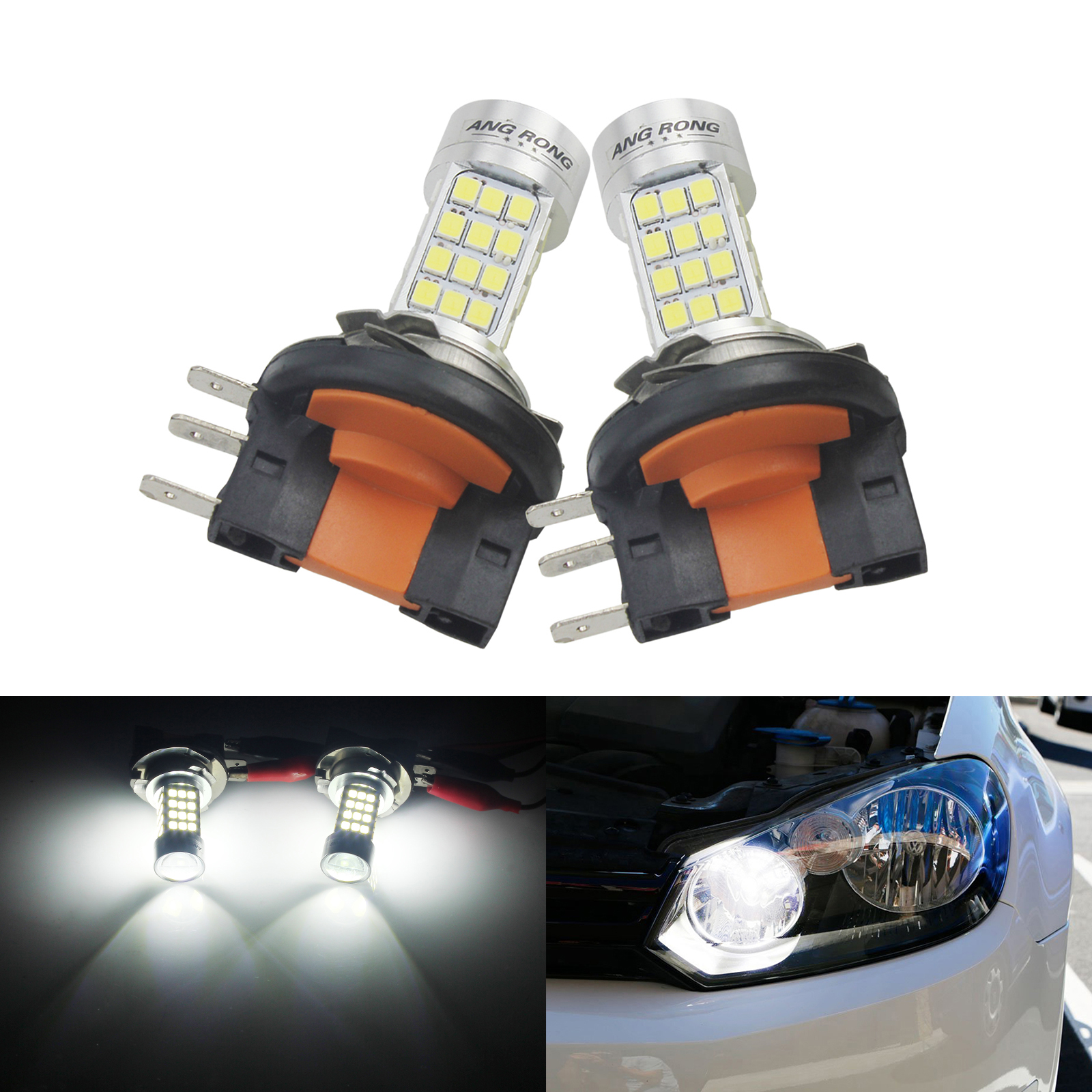 H1 For VW Caddy 2x Cree LED Headlight Bulbs Lights 7200LM 2 side chips 2017 New