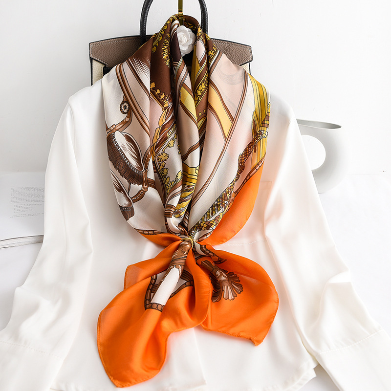 Silk Square Scarf Women Printed Scarves Fashion Lady Shawls Femme Hijab Big Square Designer Brand Chains Orange Spring Scarves