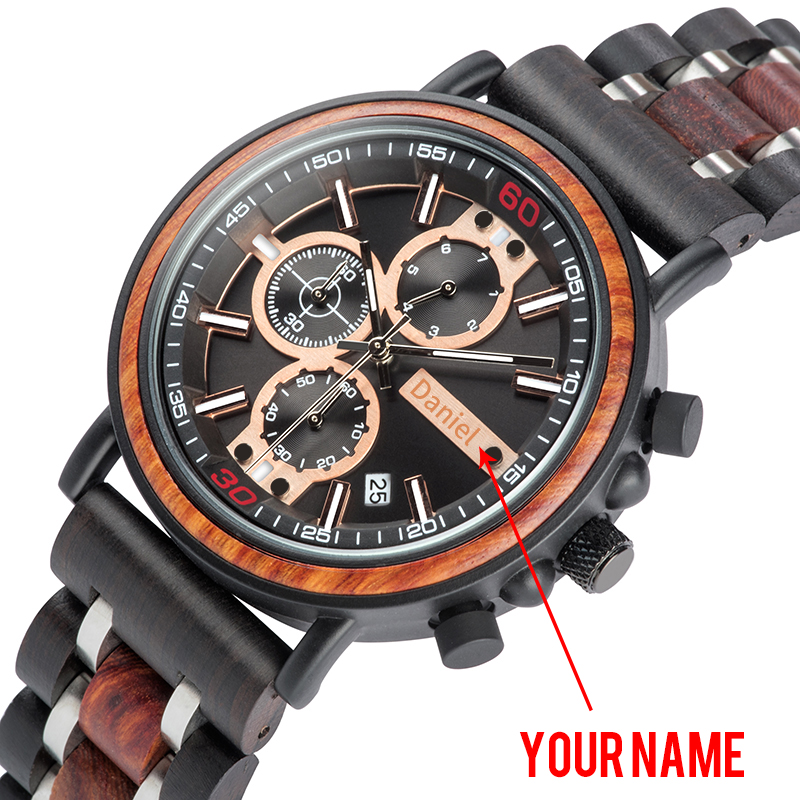 BOBO BIRD Wood Personalized Watch Men Relogio Masculino Top Brand Luxury Chronograph Military Watches Anniversary Gift for Him