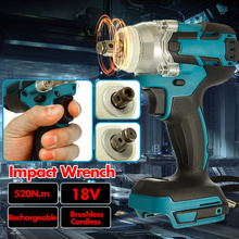 18V 520Nm Electric Brushless Impact Wrench Rechargeable 1/2 Socket Cordless Wrench Power