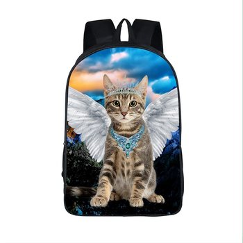 kawaii cat with black white angel wing backpack children school bags teenager backpacks girls kitten Travel bags student bags