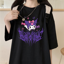 Kuromi T-Shirt Short-Sleeve Girls Tee Women Tops O-Neck Harajuku Gothic Print Summer Streetwear