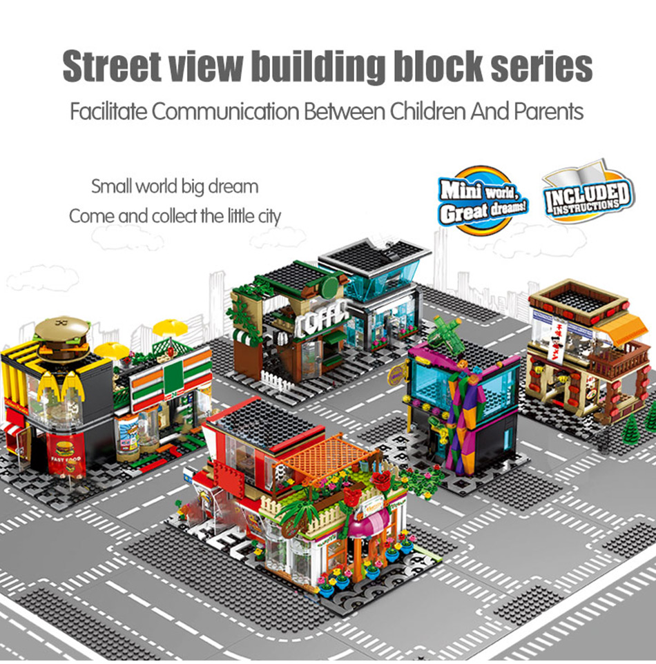 City Street Cafe Snack Dining Car Shop Building Blocks Brikcs View 8613-5