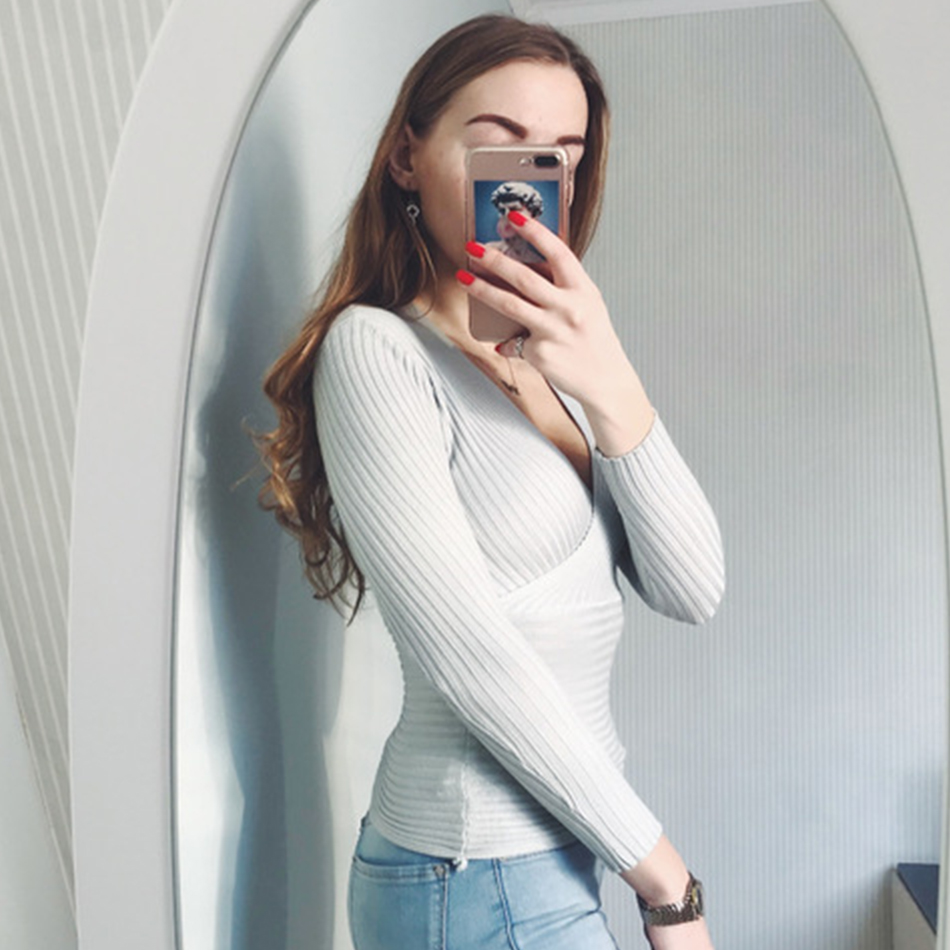 Sexy Winter Knitted Sweater V Neck Cashmere Sweater Female 19 Women Sweaters And Pullovers Autumn Long Sleeve Sweater Jumper 13