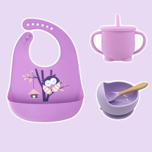 Spoon-Cup Tableware Bib-Feeding-Set Baby Bowl Silicone Children Bpa-Free High-Quality
