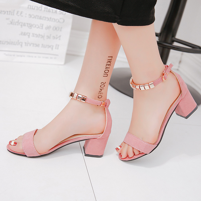 Gladiator Shoes String-Bead Square Heel Women Sandals Open-Toe Korean-Style Metal Summer title=