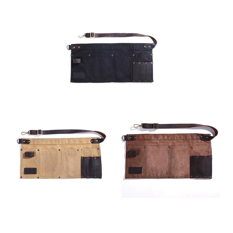Multi Pocket Apron for Women Real Leather Canvas Half Apron Pocket Waitress Teacher Vendor Utility Server Cosmetic Apron Black