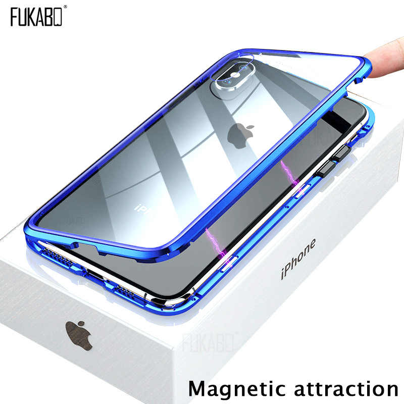 COVER CUSTODIA MAGNETICA VETRO TEMPERATO CALAMITA FLIP PER APPLE IPHONE X XS MAX