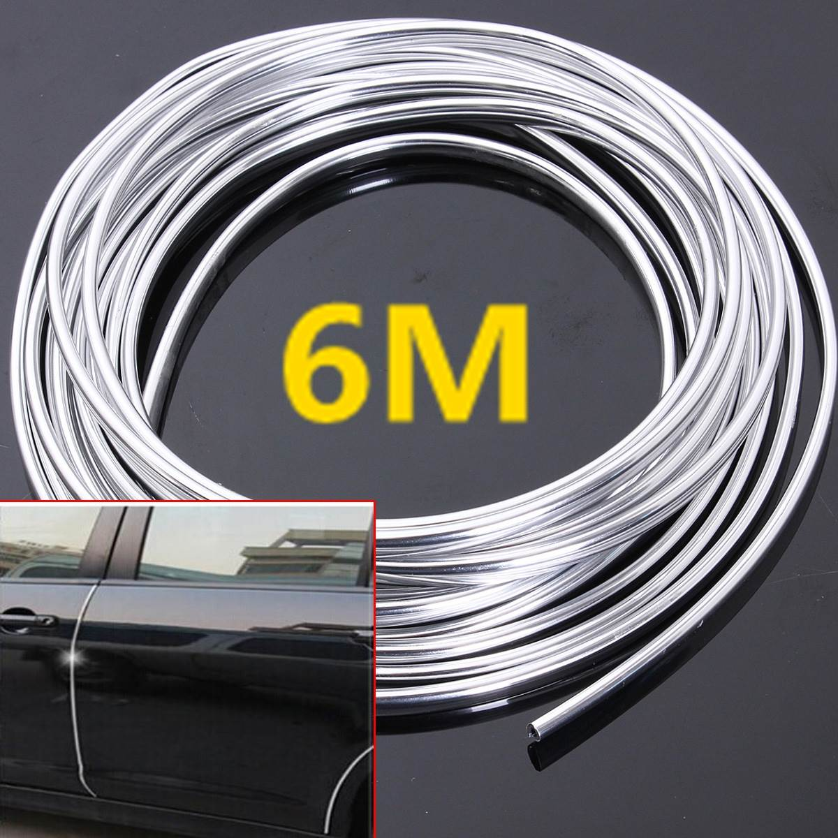 6M Chrome Moulding Trim Strip Car Door Edge Scratch Guard Protector Cover Strip Roll title=