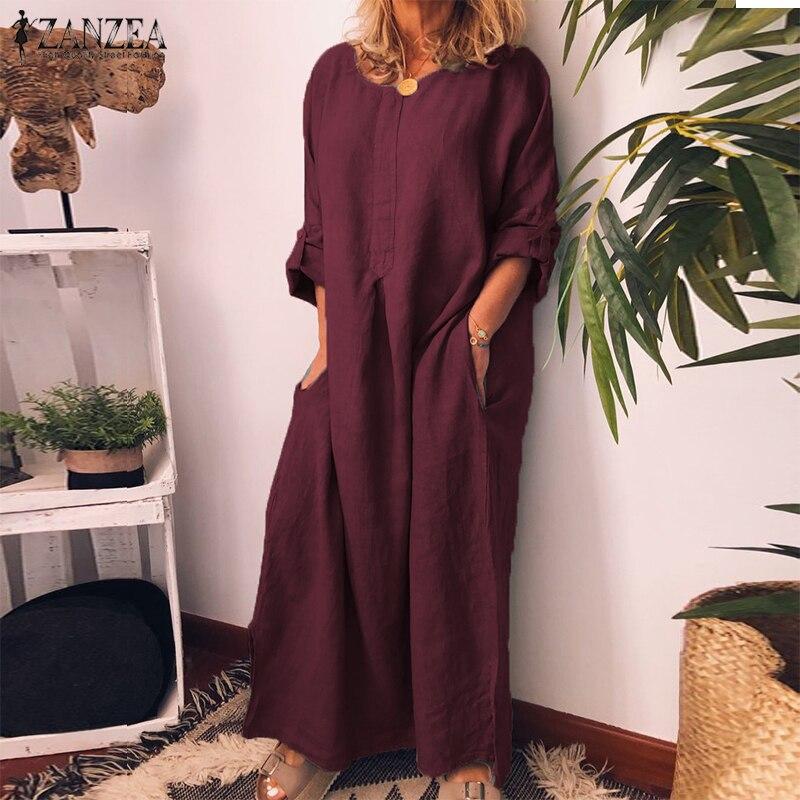 Autumn Womens Loose Short Sleeve Linen Shirt Dress Kaftan Soild Top Maxi Dress
