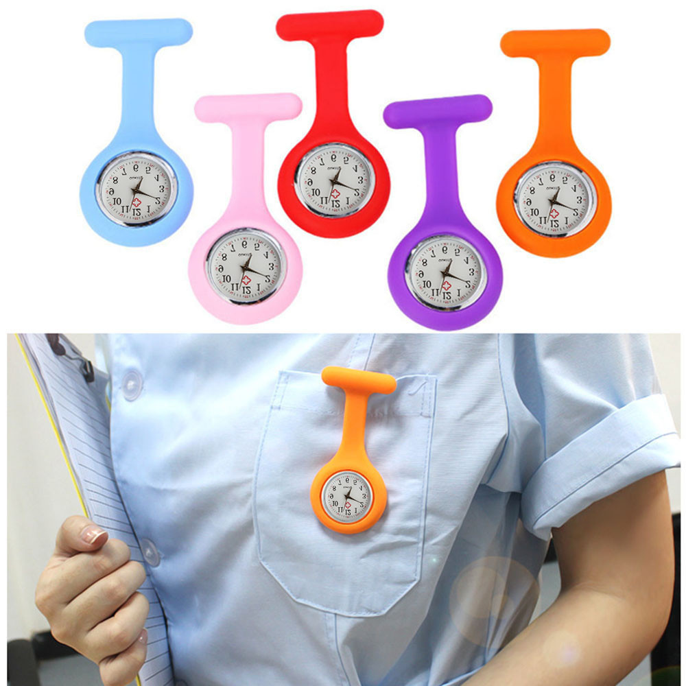 Brooch Fob-Watch Free-Battery-Doctor Medical-Multicolore Silicone Nurse with En Option title=