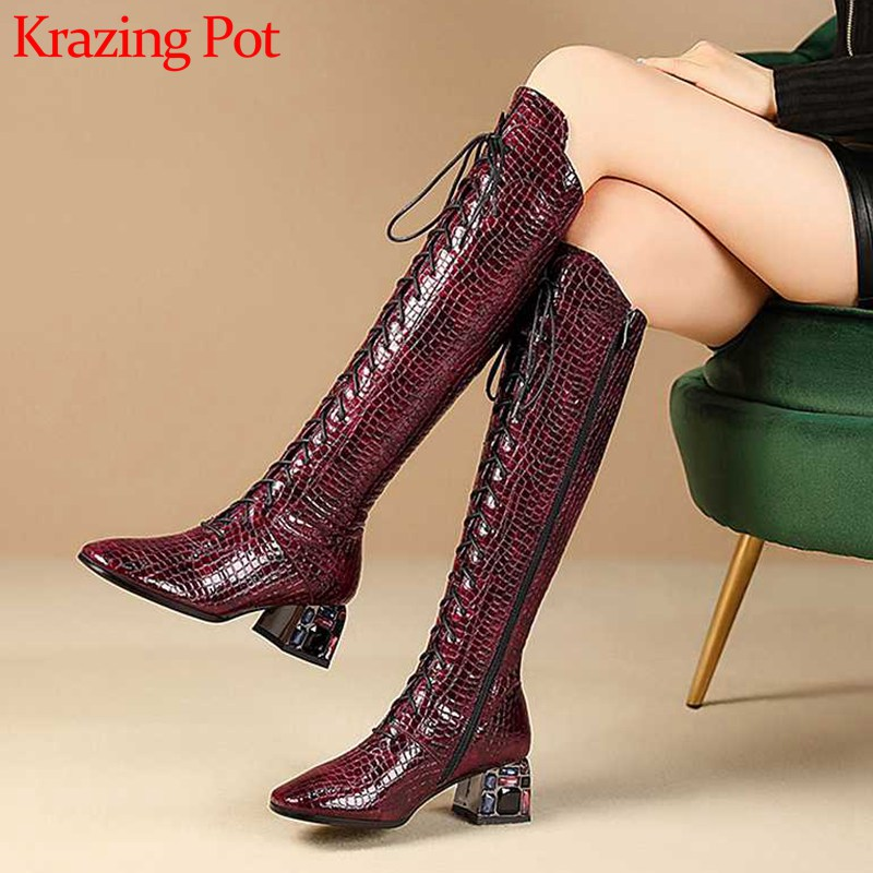 Krazing Pot gorgeous print stone pattern boots round toe high heels lace up zip winter warm mature women thigh high boots L3f7