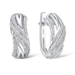 SANTUZZA, серебряные серьги для женщин, подлинные, 925 пробы, серебряные серьги женски, сверкающие, кубический цирконий, brincos, модные ювелирные изд...