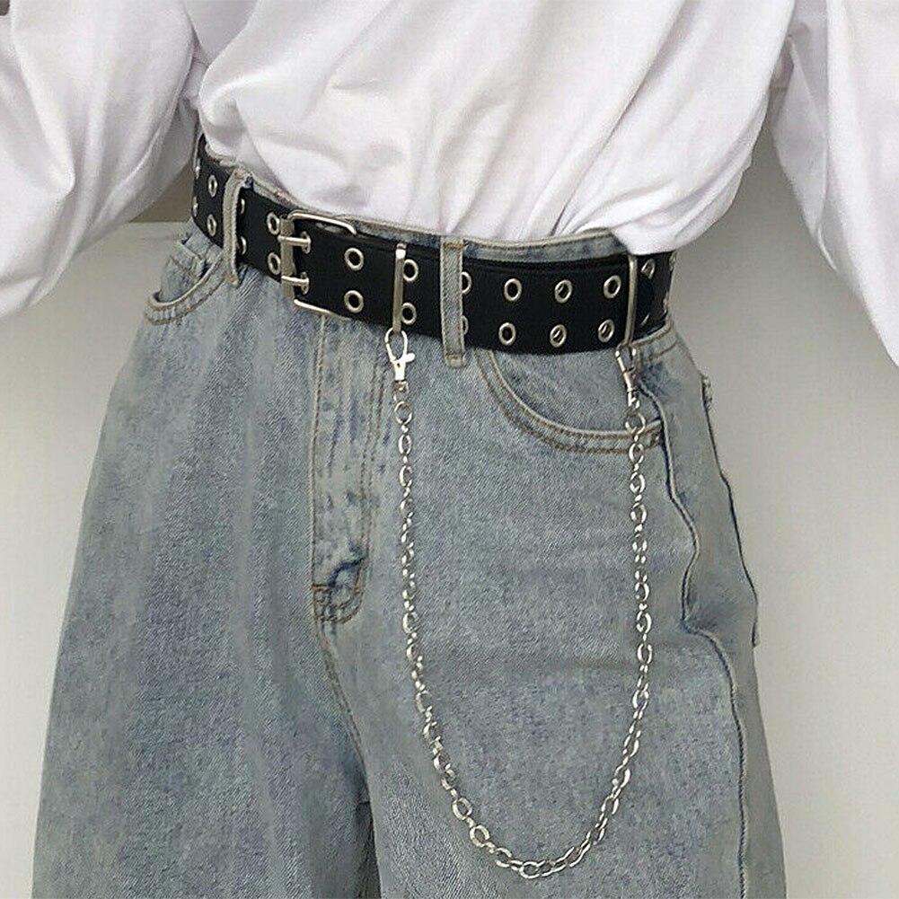 Women Punk Chain Belt Adjustable Double//Single Eyelet Leather Buckle Belt x1