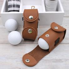 Portable Faux Leather Golf Ball Tees Holder Waist Pouch Storage Bag Container